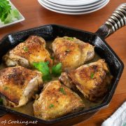 Roasted Lemon Pepper Herb Chicken Thighs with Lemon Wine Pan Sauce