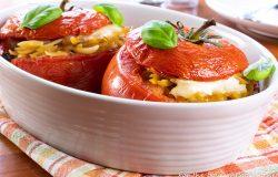 Baked Orzo Stuffed Tomatoes