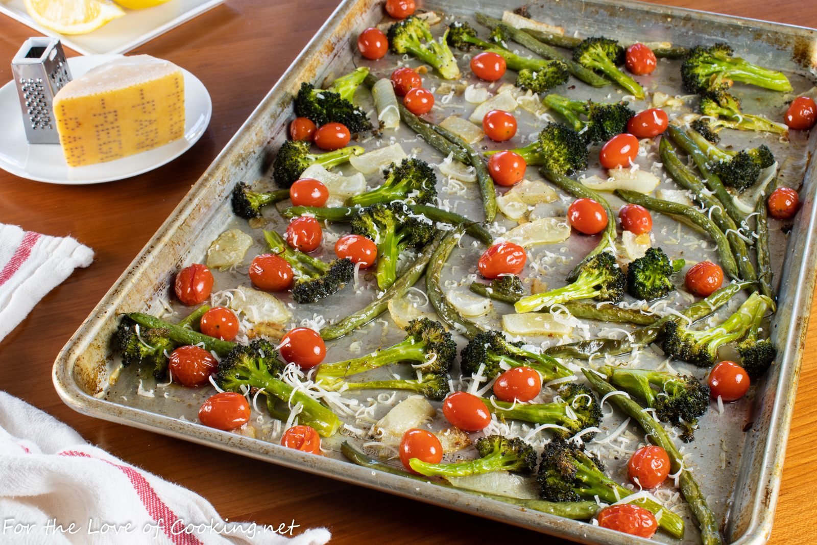 Sheet Pan Roasted Broccoli, Green Beans, and Tomatoes with Lemon and Parmesan