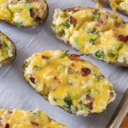 Broccoli Cheddar Twice Baked Potatoes with Bacon