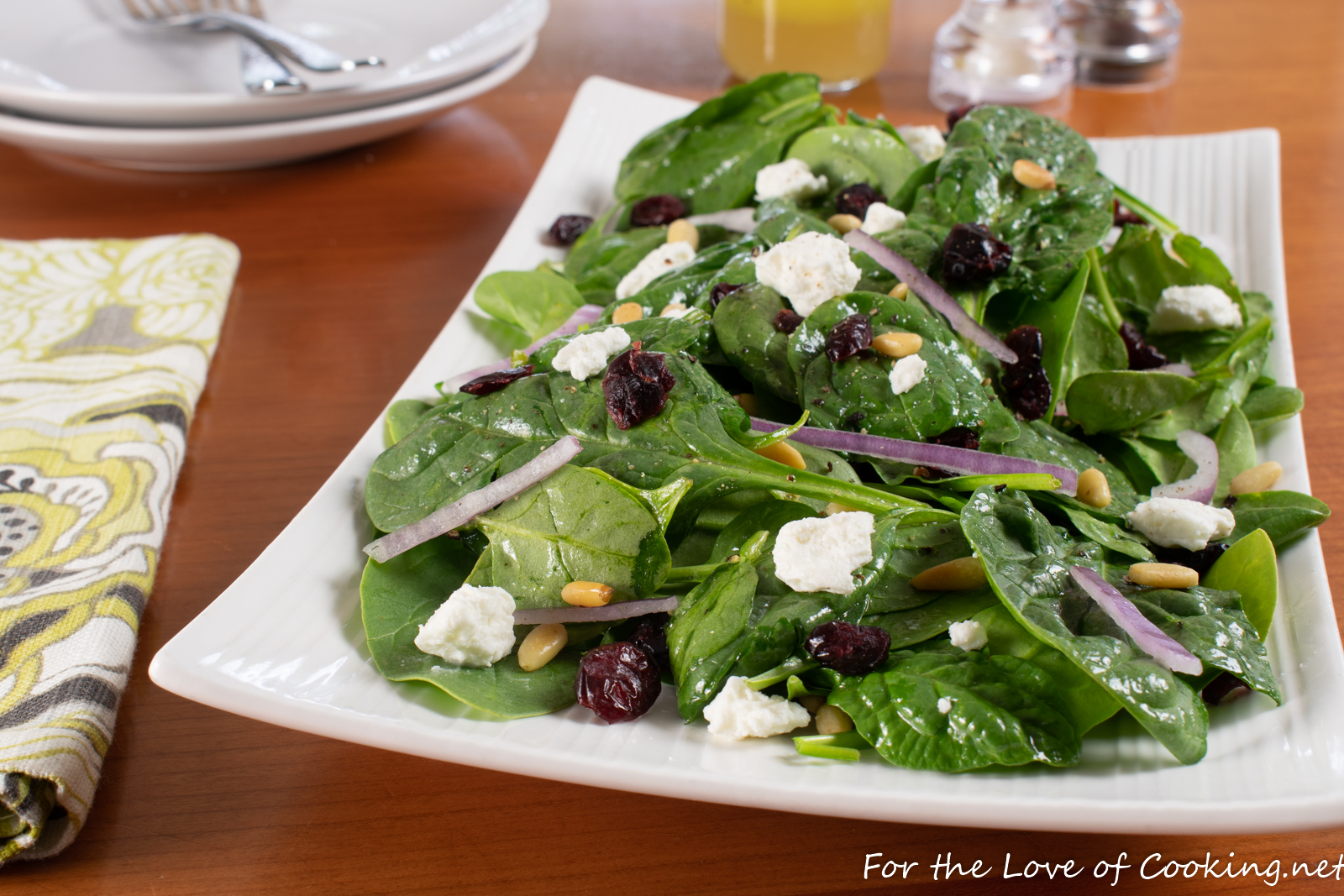 Spinach, Pine Nut, Cranberry, and Feta Salad with a White Balsamic Vinaigrette