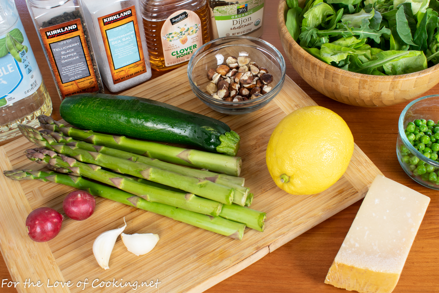 Spring Salad with Asparagus, Zucchini, and Hazelnuts with a Lemon Vinaigrette
