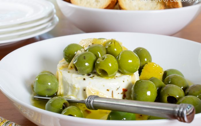 Marinated Olives & Goat Cheese with Garlic Crostini