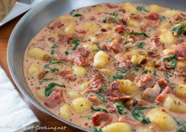 Gnocchi with Bacon and Spinach in a Tomato Cream Sauce